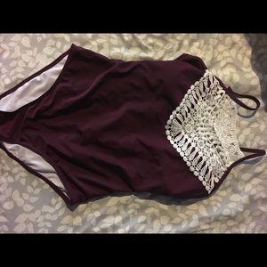 Zaful maroon bathing suit